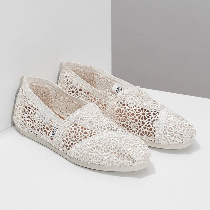 Lace slip-ons toms, white , 519-1100 - 26