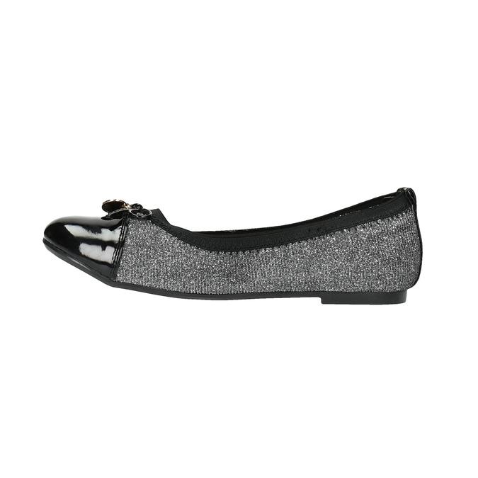 Girl's silver ballerinas with shiny toe cap mini-b, gray , 329-2166 - 26