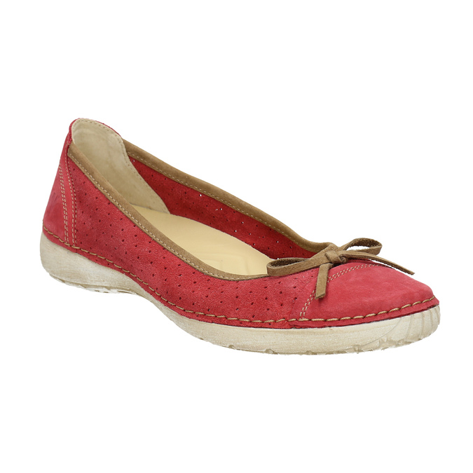 Casual leather ballerinas weinbrenner, red , 526-5503 - 13