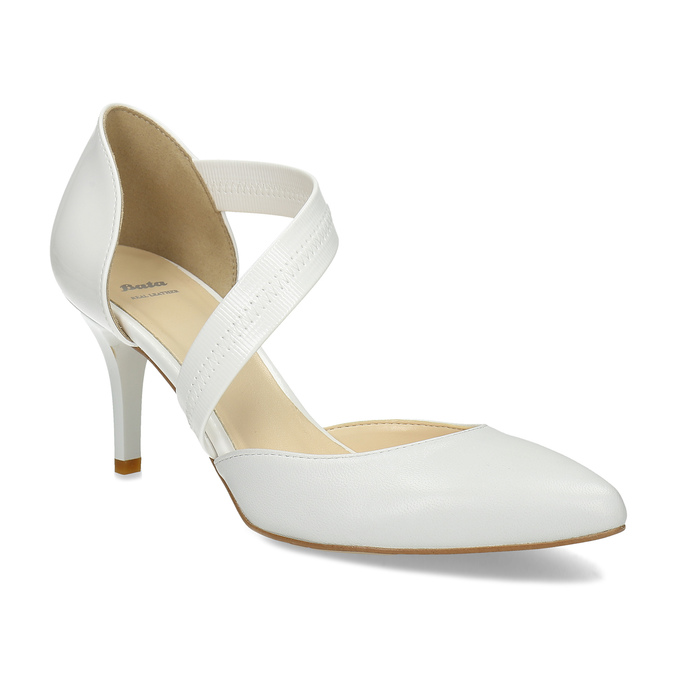 Pointed white pumps with an instep strap bata, white , 724-1904 - 13
