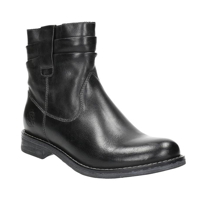 Ladies' leather ankle boots bata, black , 594-6611 - 13