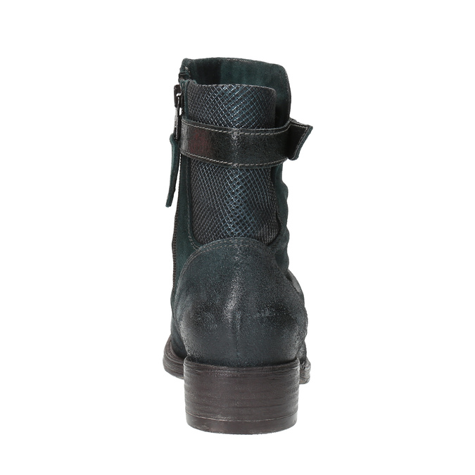 Leather ankle boots with silver details bata, turquoise, 596-9614 - 17