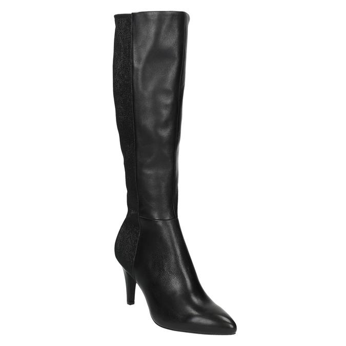 Leather Cossacks on a stiletto heel insolia, black , 794-6628 - 13