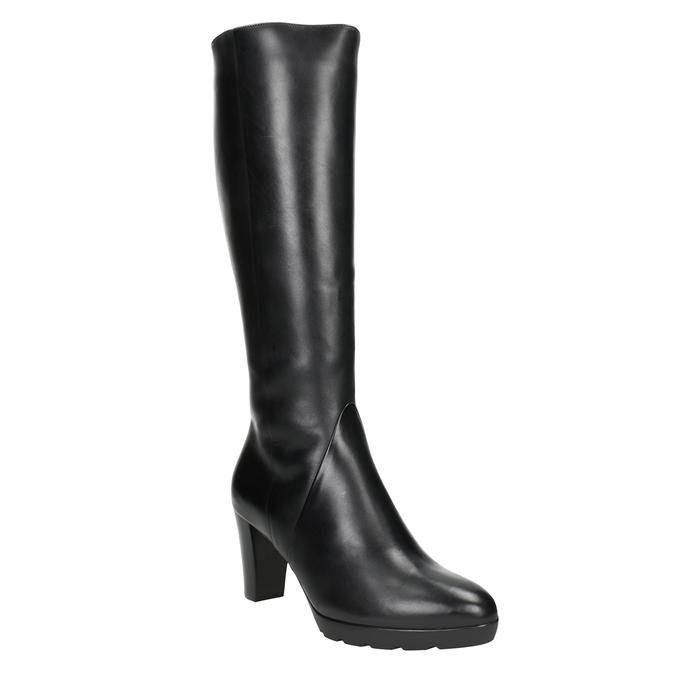Ladies' leather heeled high boots hogl, black , 794-6009 - 13
