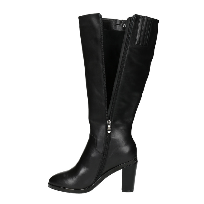 Leather high boots for broader calves bata, black , 694-6635 - 19