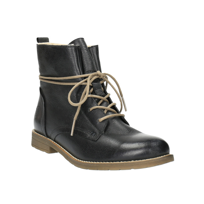 Leather insulated high ankle boots bata, black , 594-6610 - 13