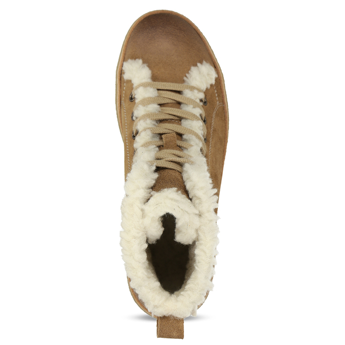 Leather ankle-cut sneakers with fur weinbrenner, brown , 596-8627 - 17