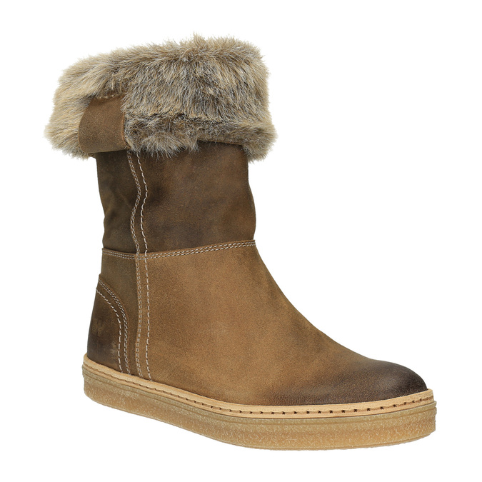 Leather winter shoes with fur weinbrenner, brown , 596-4633 - 13