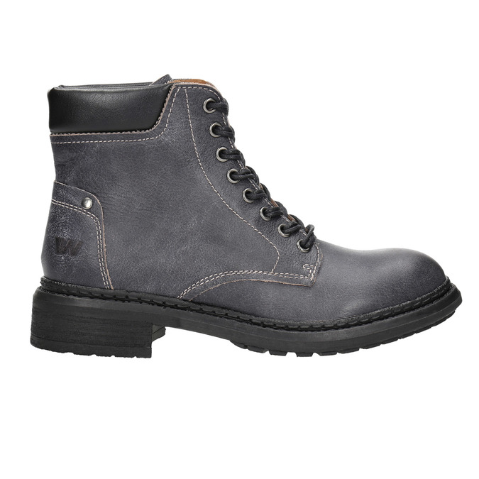 Ladies' leather ankle boots weinbrenner, gray , 596-6632 - 15