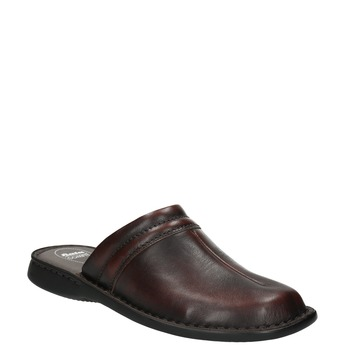 Men's leather slippers, brown , 874-4600 - 13