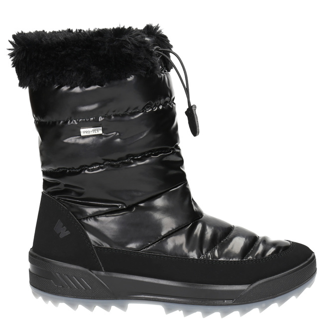 Black snow boots with fur weinbrenner, black , 591-6617 - 15