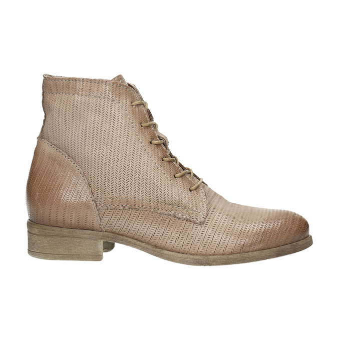 Leather ankle boots with perforated pattern bata, brown , 596-4646 - 15