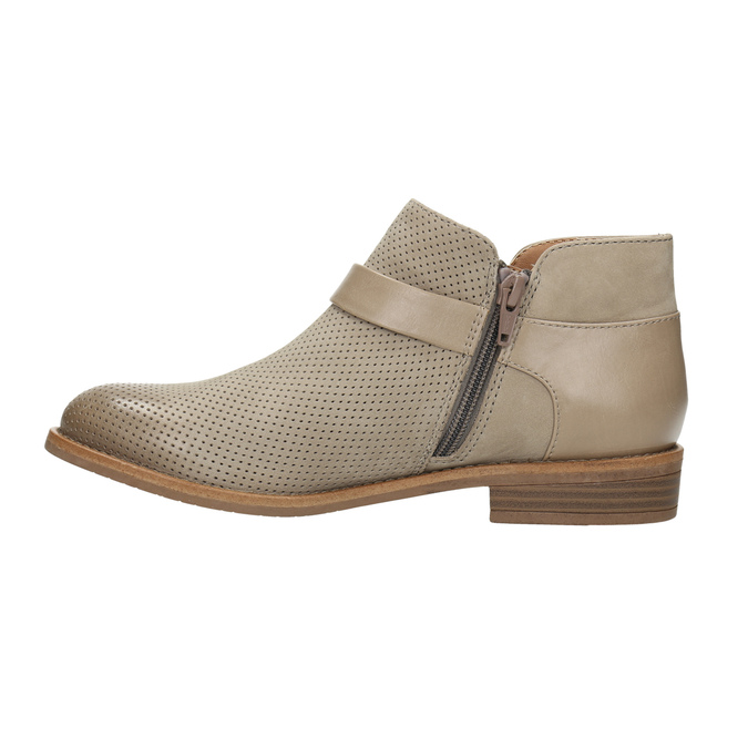 Leather ankle boots with buckle bata, brown , 596-3634 - 26