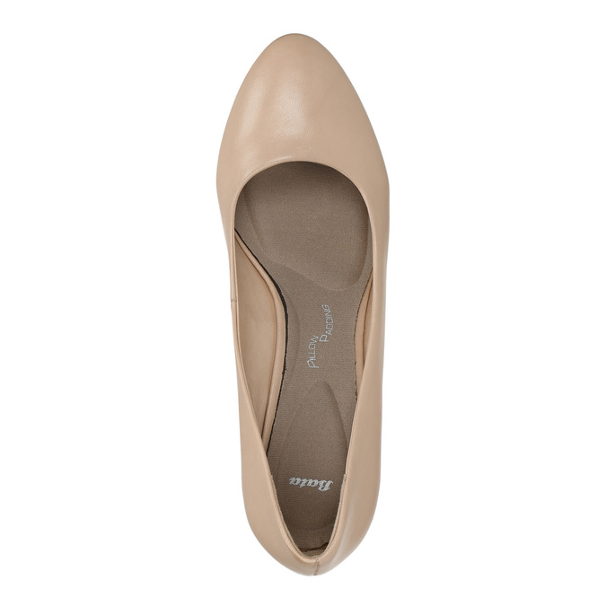 Leather low-heeled pumps pillow-padding, beige , 626-8637 - 19