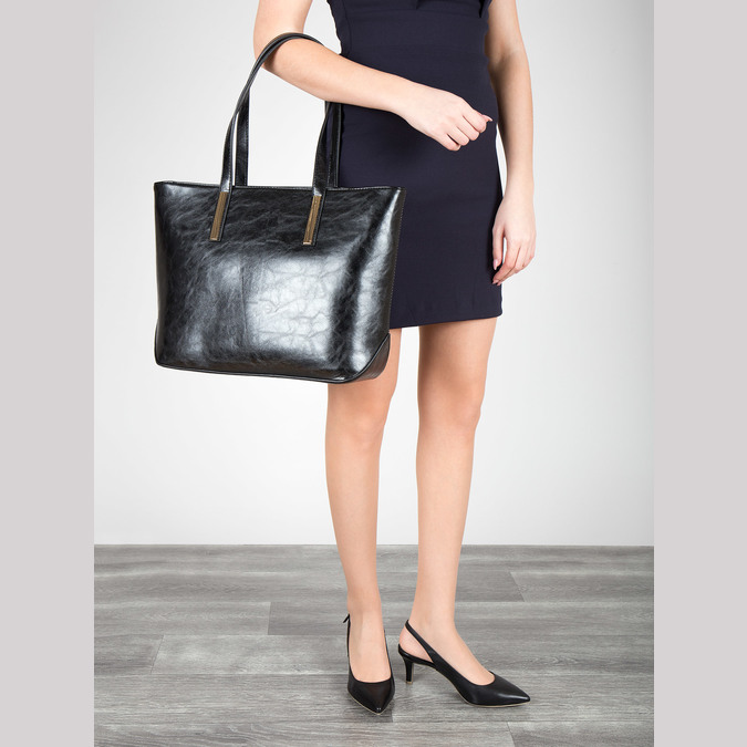 Leather pumps in the Sling-back style pillow-padding, black , 624-6638 - 18