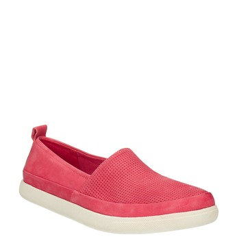 Leather shoes with perforations bata, pink , 516-5601 - 13