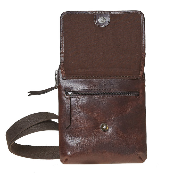 Leather crossbody bag bata, brown , 964-4237 - 17