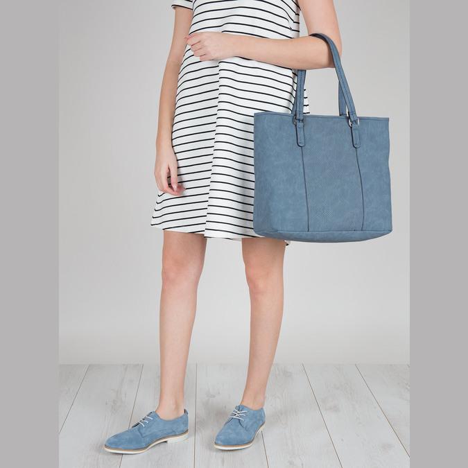 Blue leather shoes bata, blue , 523-9600 - 18