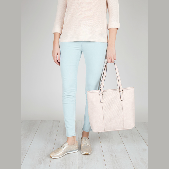 Pink handbag with perforated detail bata, pink , 961-5711 - 17