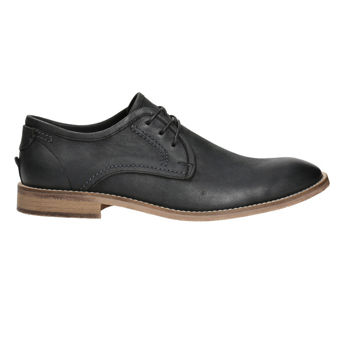 Men's leather shoes with distinctive stitching bata, black , 826-6815 - 15