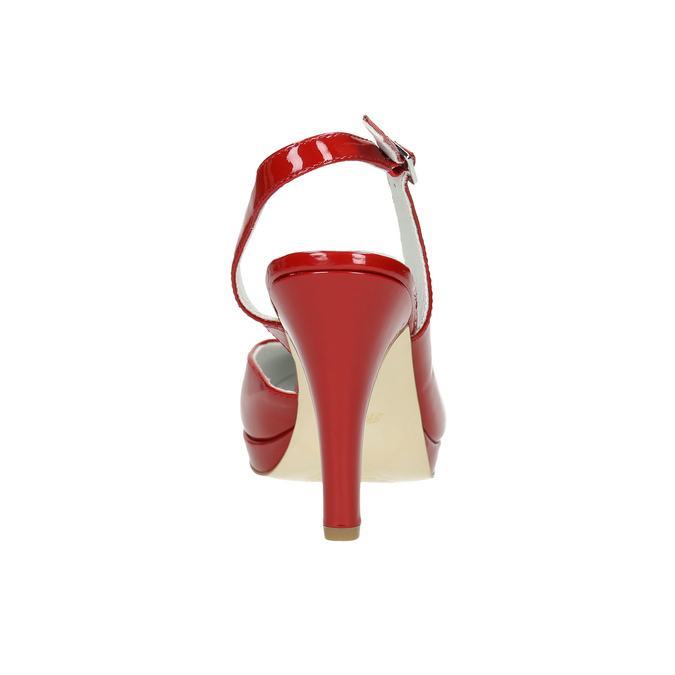 Red leather pumps with open heel insolia, red , 728-5638 - 17