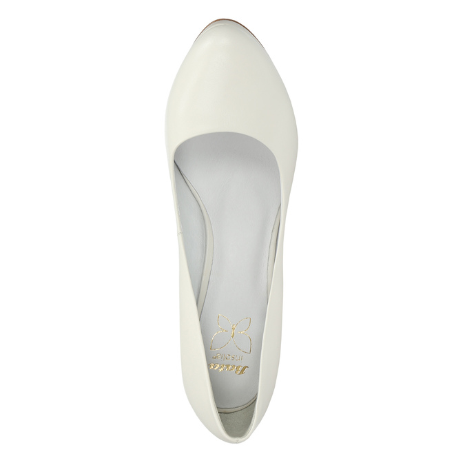 Leather pumps on a Stiletto heel insolia, white , 724-1647 - 19