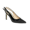 Black leather pumps with open heel insolia, black , 724-6634 - 13