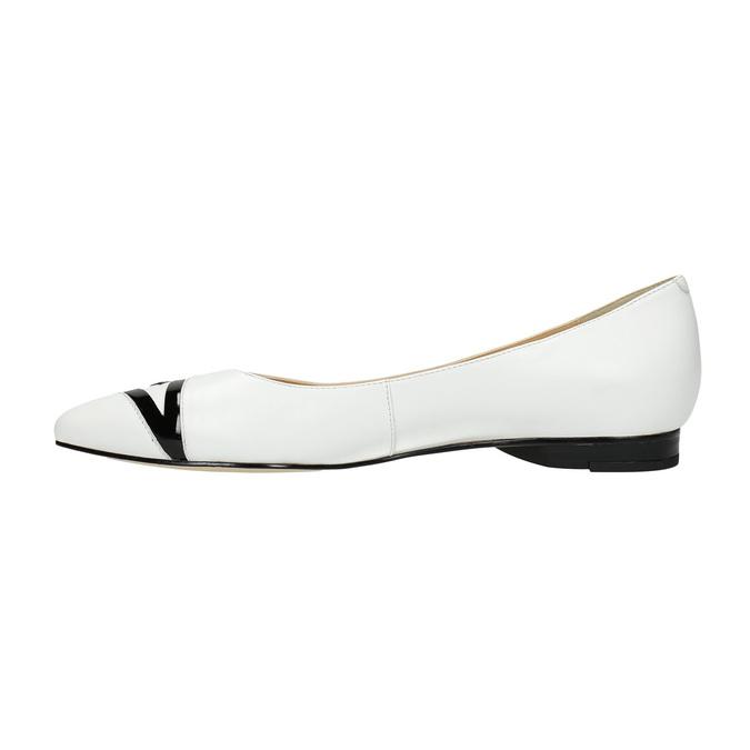 Ladies´ leather ballerinas bata, white , 524-1602 - 26