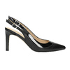 Black leather pumps with open heel insolia, black , 724-6634 - 15