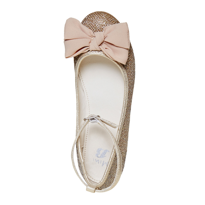 Girls' ballet pumps with bow mini-b, gold , 329-8241 - 19