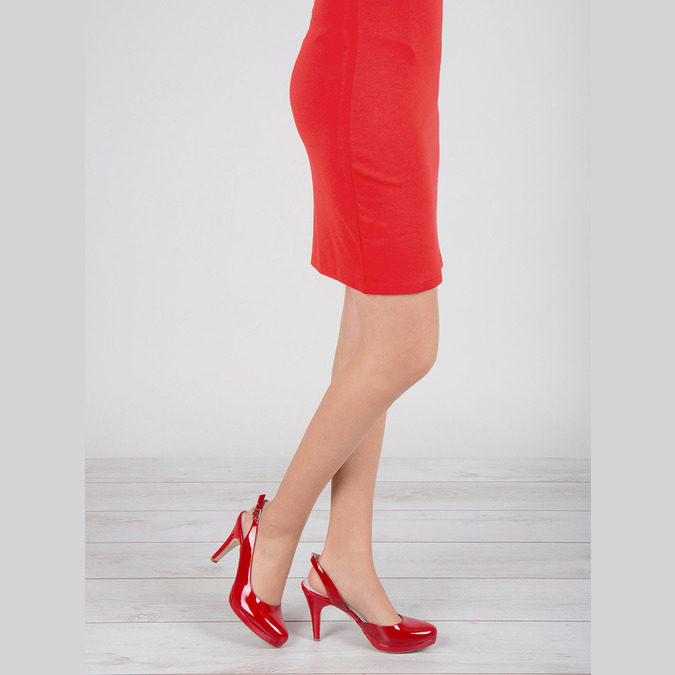 Red leather pumps with open heel insolia, red , 728-5638 - 18