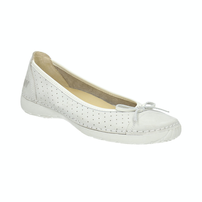 Perforated leather ballerina shoes weinbrenner, white , 526-1634 - 13