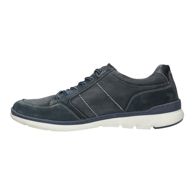 Casual brushed leather sneakers bata, blue , 846-9639 - 26
