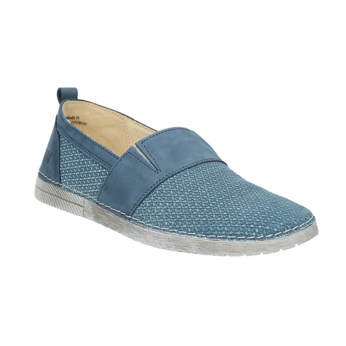 Blue leather slip-ons weinbrenner, blue , 513-9263 - 13