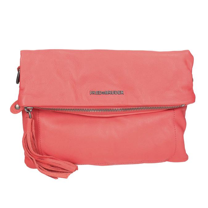 Ladies' leather crossbody handbag fredsbruder, red , 964-5037 - 19