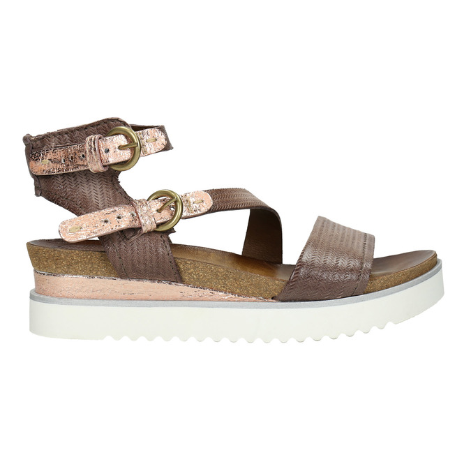 Ladies' sandals with a distinctive sole bata, brown , 666-4604 - 15