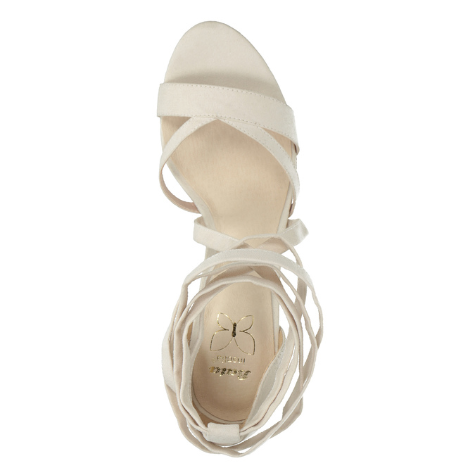 Heeled lace-up sandals insolia, white , 769-1613 - 19