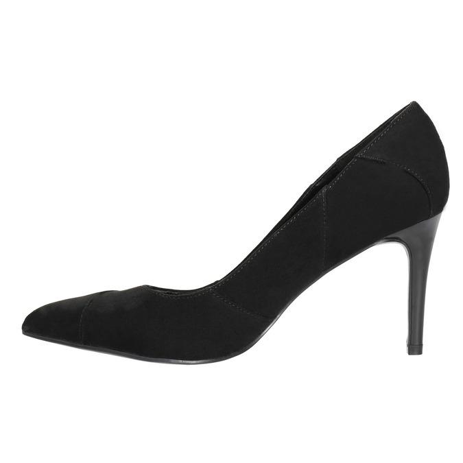 Ladies pointed pumps insolia, black , 729-6607 - 26