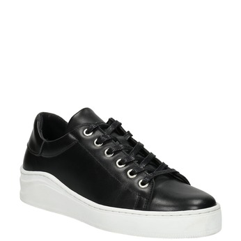 Leather sneakers with a distinctive sole bata, black , 526-6641 - 13