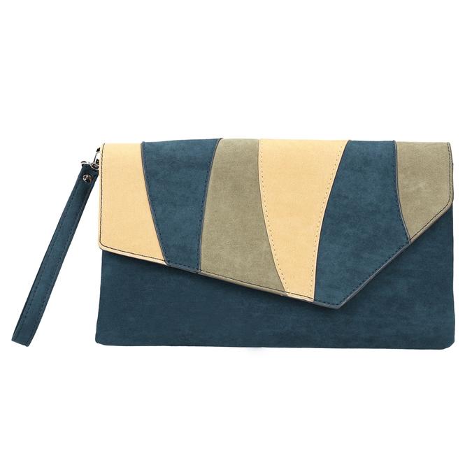 Ladies' blue clutch with wrist strap bata, blue , 969-9664 - 19