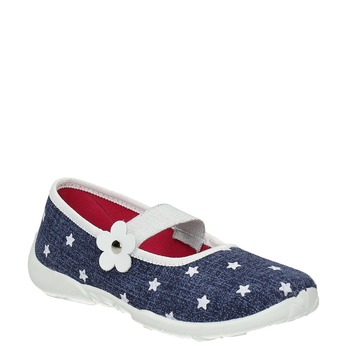 House slippers with stars mini-b, blue , 379-2215 - 13