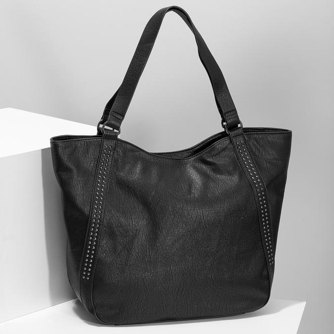 Black studded handbag, black , 961-6787 - 17