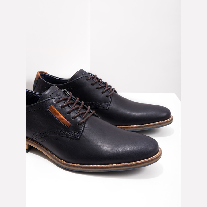 Informal leather shoes bata, blue , 826-9910 - 14