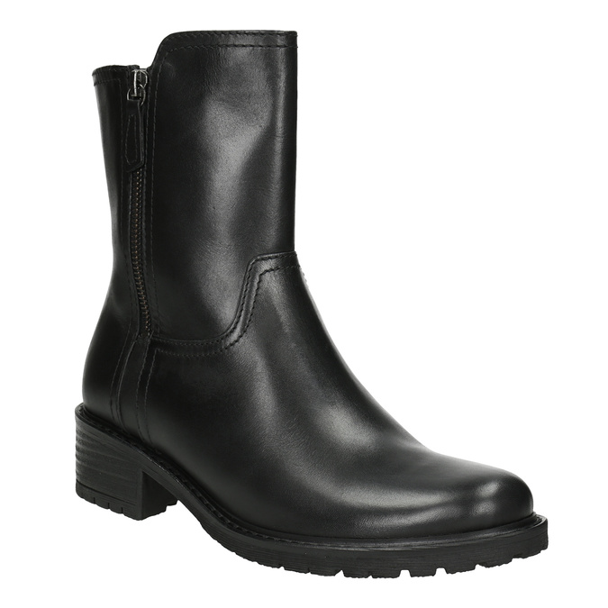 Leather High Boots with Rugged Sole gabor, black , 614-6128 - 13