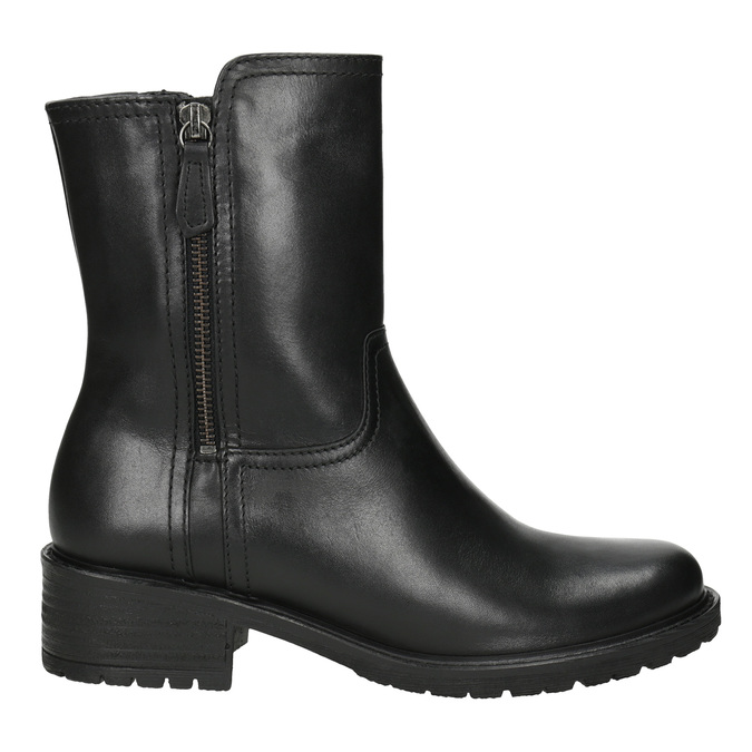 Leather High Boots with Rugged Sole gabor, black , 614-6128 - 26