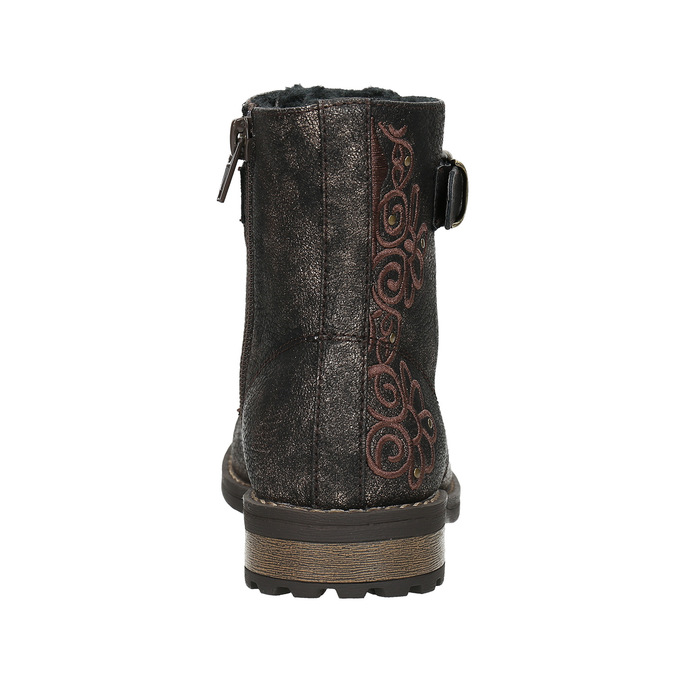 Children's Winter Boots with Embroidery mini-b, brown , 391-8654 - 17
