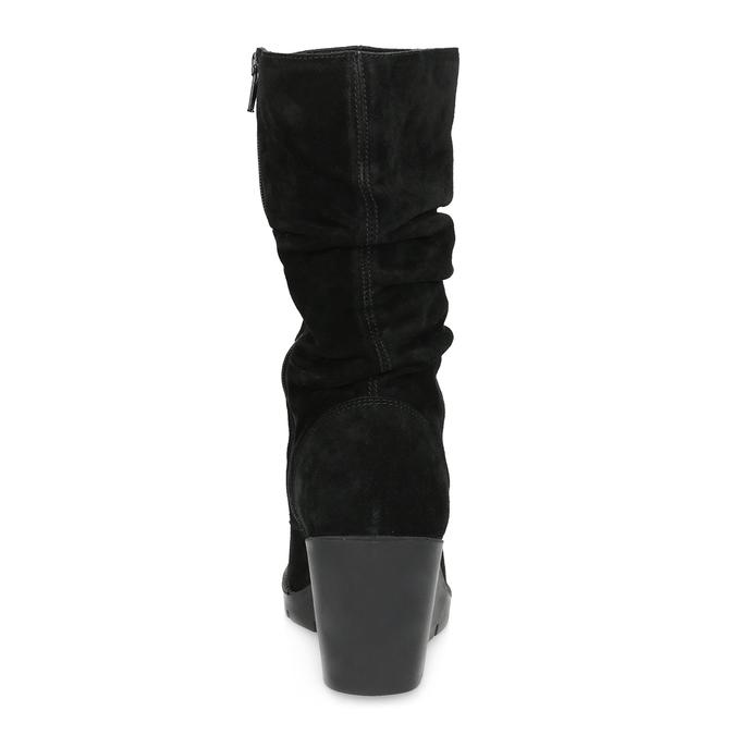 Ladies' Black Wedge High Boots bata, black , 796-6646 - 15