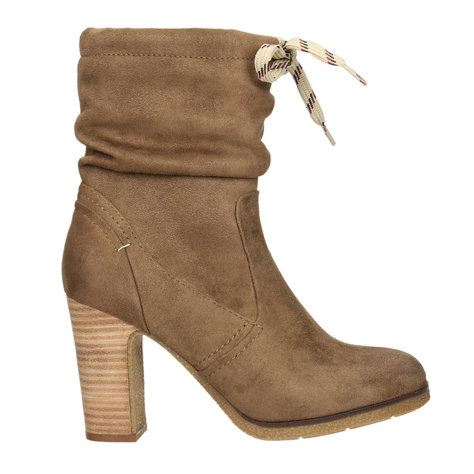 Brown heeled high boots bata, brown , 799-3613 - 15