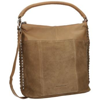 Leather Handbag with Weaving fredsbruder, brown , 963-3005 - 13