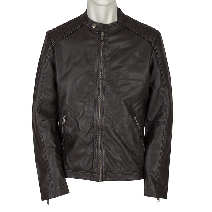 Men's Imitation Leather Jacket bata, brown , 971-4103 - 13